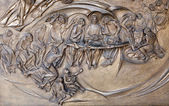 Rome - Last supper of Christ - detail from modern gate of basilica Santa Maria Maggiore — Stock Photo