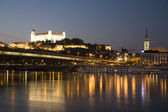 Bratislava - castle and cathedral and Danube — Stock Photo