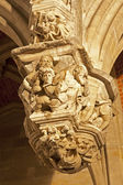 BRUSSELS - JUN 20: Carvings on a Gothic arch outside the entrance to the Grand Palace on Jun 20, 2012 in Brussels. — Stock Photo