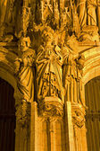 BRUSSELS - JUNE 21: Nightly detail from main portal of Saint Michael s and Saint Gudula gothic cathedral on June 21, 2012 in Brussels. — Stock Photo