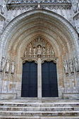 BRUSSELS - JUNE 21: South portal of Notre Dame du Sablon gothic church on June 21, 2012 in Brussels. — Stock Photo