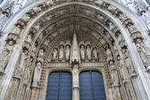 Brussels - Notre Dame du Sablon gothic church - west portal. — Stock Photo