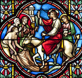 BRUSSELS - JUNE 22: Entry of Jesus in Jerusalem. Detail from windowpane in st. Michael s gothic cathedral on June 22, 2012 in Brussels. — Stock Photo