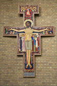 BRUSSELS - JUNE 22: Franciscan cross from National Basilica of the Sacred Heart on June 22, 2012 in Brussels. — Stock Photo