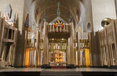 BRUSSELS - JUNE 22: Main nave from National Basilica of the Sacred Heart on June 22, 2012 in Brussels. — Stok fotoğraf