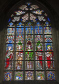 BRUSSELS - JUNE 22: Windowpane from gothic church Notre Dame du Sablon on June 22, 2012 in Brussels. — Stockfoto