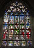 BRUSSELS - JUNE 22: Windowpane from gothic church Notre Dame du Sablon on June 22, 2012 in Brussels. — Foto de Stock