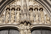 BRUSSELS - JUNE 21: Detail from main portal of Saint Michael s cathedral on June 21, 2012 in Brussels. — Stock Photo