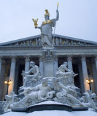 Vienna - parliament and Athena fountain in winter mornig — Stock Photo