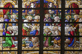 BRUSSELS - JUNE 21: Last super of Christ. Detail of windowpane from st. Nicholas church on June 21, in Brussels. — Stockfoto