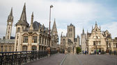 GENT - JUNE 23: Look from Saint Michael s bridge to Nicholas church and town hall on June 23, 2012 in Gent, Belgium. — Stock Photo