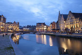 GENT - JUNE: Typical houses and canal in dusk from Korenlei and Graselei street on June 24, 2012 in Gent, Belgium. — Stock Photo
