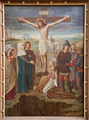 BRUSSELS - JUNE 25: Crucifixion paint from st. Niklas and Jean s church on June 25, 2012 in Brussels, Belgium. — Stock Photo