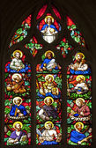 Paris - windowpane of twelves apostles - Saint Germain-l'Auxerrois gothic church — Stok fotoğraf