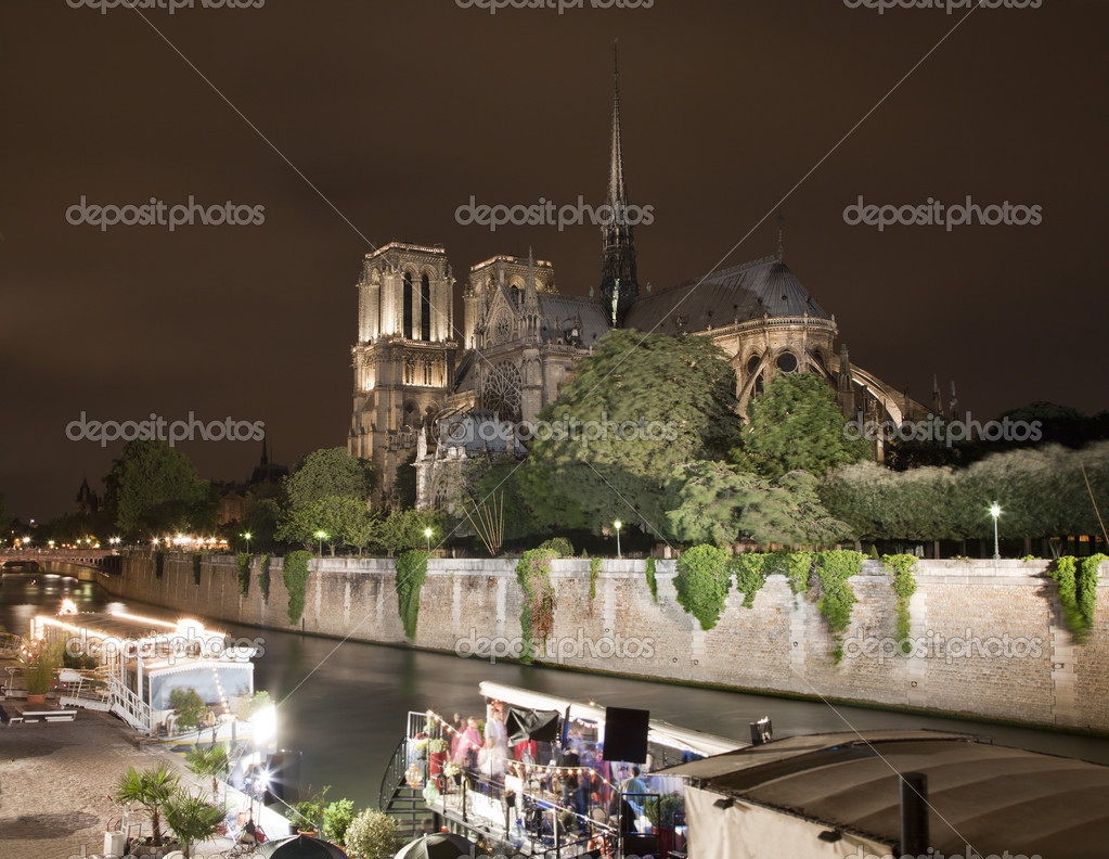 Paris - Notre Dame cathedral in night  — Stock Photo #13139606