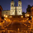 Rome - Spain stairs in morning and Chiesa della Trinita dei Monti church — Stock Photo