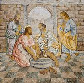 Rome - mosaic - feet washing from New Testament in basilica of st. Peters - last super — Stockfoto