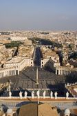 Rome - outlook from cupola of st. Peters cathedrale - square — Stock Photo