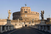 Rzym - anioły most i zamek w rano — Zdjęcie stockowe