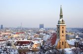 Bratislava - st. Martin s cathedral and town in winter evening — Stock Photo