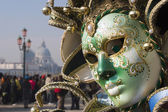 Venice - green mask from market — Stock Photo