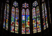 Paris - sanctuar windowpane of Saint Denis cathedral — Zdjęcie stockowe
