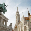 Budapest - St. Matthew's gothic Cathedral and st. Stephen — Stock Photo