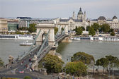 Budapest - Chain bridge and st. Stephen cathedral — Stock Photo
