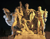 ROME, MARCH - 21: Sculpture from Vittorio Emanuele bridge at night on March 21, 2012 in Rome, Italy — Stock Photo