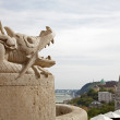 Budapest - detail of dragon from Fisher bastion - Stock Photo