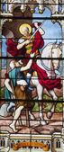Paris - windowpane from Saint Severin gothic church - st. Martin — Stock Photo