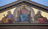 Rome - Jesus Christ the Teacher - mosaic from facade of Saint Paul s basilica - St. Paolo fuori le mura basilica — Stock Photo