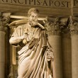 Rome - st. Peter statue for basilica in Vatican at night — Stock Photo #14883635