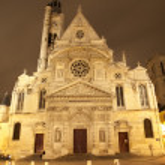 巴黎-圣艾蒂安-杜-mont 哥特式教堂的夜 — 图库照片