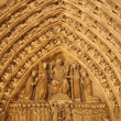 Paris - detail from main portal of Notre-Dame cathedral at night — Stock Photo #14885999
