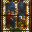 Jesus on the cross - windowpane from Slovakia - Senec — Stock Photo