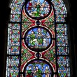 Paris - windowpane from Saint Denis gothic church — Stock Photo #14887257