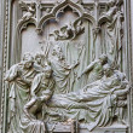 Постер, плакат: Milan detail from main bronze gate birth of Virgin Mary by Ludovico Pogliaghi 1906