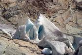 Glaciar y roca - los alpes - aletschgletscher — Foto de Stock
