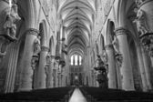 BRUSSELS - JUNE 22: Nave of gothic cathedral of Saint Michael on June 22, 2012 in Brussels. — Stock Photo