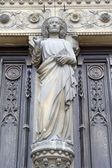 Christ from main portal of st. Lawrence church in Paris — Stock Photo