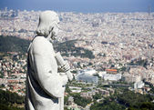 Barcelona - saint on the church on Tibidabo - Sagrad cor de Jesus — Stock Photo