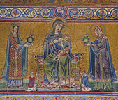 Rome - mosaic from facade of Santa Maria in Trastevere basilica — Stock Photo