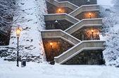 Bratislava - kış sabahı merdivenlerde kalesi — Stok fotoğraf