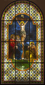 Jesus on the cross - windowpane from Slovakia - Senec — Stock fotografie