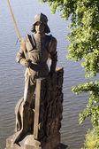Knight from prague - Charles bridge — Stock Photo