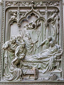 Milan - detail from main bronze gate - birth of Virgin Mary by Ludovico Pogliaghi, 1906 — Stock Photo