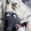 Mountaineer on the summit of Jalovec peak in Julian alps - Slovenia — ストック写真