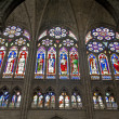 Paris - sanctuar windowpane of Saint Denis cathedral — Stock Photo #14893705