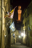 Siena - aisle and Torre del Mangia in the night — Stock Photo